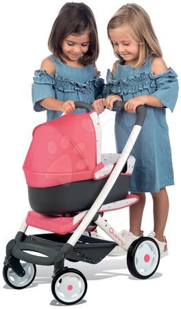 Játékbabák gyerekeknek - Szett mély kombinált babakocsi Trio Pastel Maxi Cosi & Quinny 3in1 Smoby és etetőszék, autósülés és hinta 3in1_1