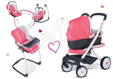 Set cărucior Trio Pastel Maxi Cosi & Quinny 3in1 Smoby cu coş bebe şi scaun de masă, scaun de maşină şi leagăn 3in1