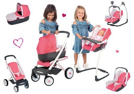 Játékbabák gyerekeknek - Szett mély kombinált babakocsi Trio Pastel Maxi Cosi & Quinny 3in1 Smoby és etetőszék, autósülés és hinta 3in1