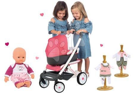 Set kočárek hluboký trojkombinace Trio Pastel Maxi Cosi & Quinny 3v1 Smoby a panenka Violette Baby Nurse 32 cm a 2 šatičky