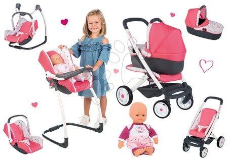 Játékbabák gyerekeknek - Szett mély kombinált babakocsi Trio Pastel Maxi Cosi & Quinny 3in1 Smoby és etetőszék, autósülés és hinta játékbabával