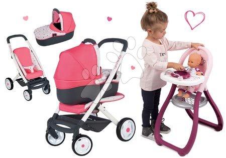 Vozički za punčke in dojenčke - Komplet globoki voziček trikombinacija Trio Pastel Maxi Cosi & Quinny 3v1 Smoby in stolček za hranjenje Baby Nurse