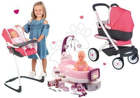 Set cărucior adânc Trio Pastel Maxi Cosi&Quinny 3în1 Smoby și scaun de masă, scaun de mașină și centru de bebe