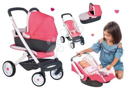 Vozički za punčke in dojenčke - Komplet voziček Trio Pastel Maxi Cosi & Quinny Smoby in avtosedež za dojenčka