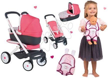 Kočíky pre bábiku - Set kočík hlboký trojkombinácia Trio Pastel Maxi Cosi & Quinny 3v1 Smoby a klokanka Baby Nurse pre 42 cm bábiku