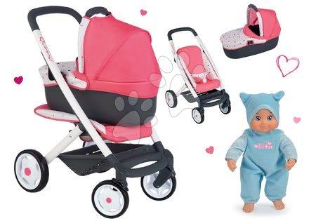 Kočíky pre bábiku - Set kočík hlboký trojkombinácia Trio Pastel Maxi Cosi & Quinny 3v1 Smoby a bábika MiniKiss so zvukom