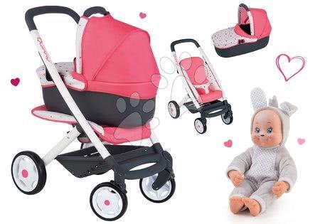 Kočíky pre bábiku - Set kočík hlboký trojkombinácia Trio Pastel Maxi Cosi & Quinny 3v1 Smoby a bábika v kostýme Zajačik Animal Doll MiniKiss 27 cm so zvukom