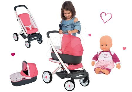 Kočíky pre bábiku - Set kočík hlboký trojkombinácia Trio Pastel Maxi Cosi & Quinny 3v1 Smoby a bábika Baby Nurse 32 cm