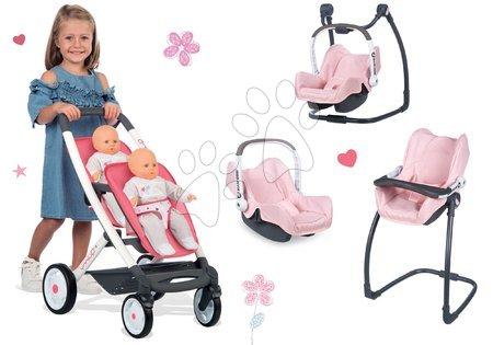 Kočíky pre bábiku - Set kočík pre dve bábiky Trio Pastel Maxi Cosi & Quinny Smoby a stolička, autosedačka a hojdačka