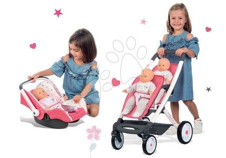 Kočíky pre bábiku - Set kočík pre dve bábiky Trio Pastel Maxi Cosi & Quinny Smoby a autosedačka