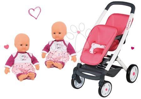 Set kočárek pro dvě panenky Twin Trio Pastel Maxi Cosi & Quinny Smoby a panenky dvojčata Violette Baby Nurse