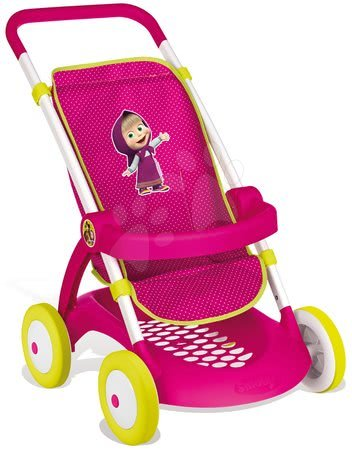 Dětský kočárek pro panenku Máša a medvěd Smoby sportovní (58 cm ručka) od 18 měsíců růžovo-zelený
