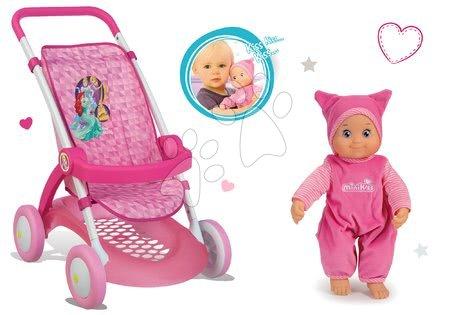 Set športový kočík pre bábiku Princezné Smoby s bábikou Minikiss so zvukom pusinky