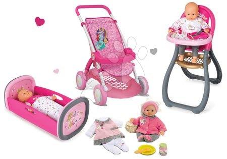 Princese - Set kolica za lutku Smoby sportska (58 cm ručka), hranilica, kolijevka i lutka s odjećom od 18 mjeseci