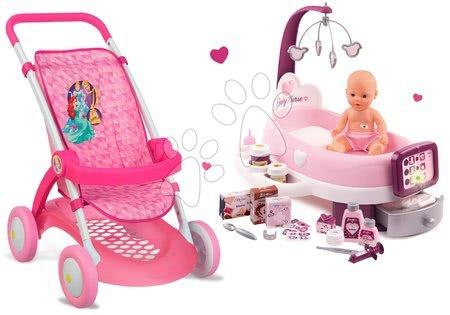 Minnie Mouse - Set kočárek pro panenku Smoby sportovní (58 cm rukojeť) a pečovatelský kufřík Nursery od 18 měsíců