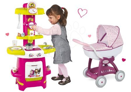Komplet voziček Maša in medved Smoby za dojenčka globok (58 cm ročaj) a kuhinja z dodatki od 18 mes
