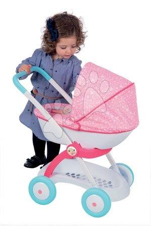 Mély babakocsi játékbabának Pastel Hercegnők Disney Smoby (tolókar 58 cm) rózsaszín 18 hó-tól