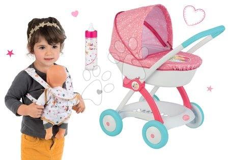 Set hlboký kočík pre 42 cm bábiku Princezné Disney Smoby a klokanka a fľaška s mliekom Baby Nurse