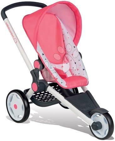 Vozički za punčke in dojenčke - Komplet športni voziček Trio Pastel Maxi Cosi&Quinny Jogger Smoby premičen s strehico in čistilni voziček z vedrom_1