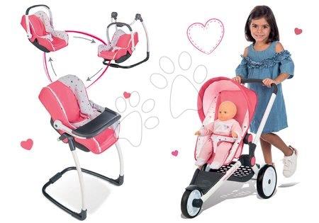 Set cărucior sport Trio Pastel Maxi Cosi & Quinny Jogger Smoby parasolar rabatabil şi roţi din cauciuc şi scaun de masă, scaun de maşină şi leagăn 3in1