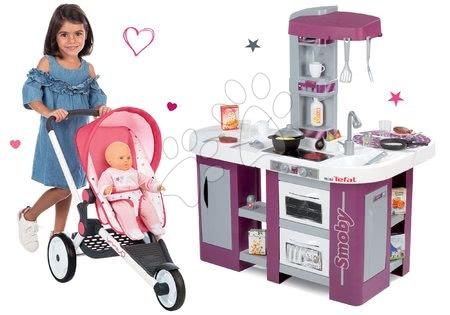 Set cărucior sport Trio Pastel Maxi Cosi&Quinny Jogger Smoby cu parasolar rabatabil și bucătărie electronică de jucărie Tefal Studio XL cu frigider