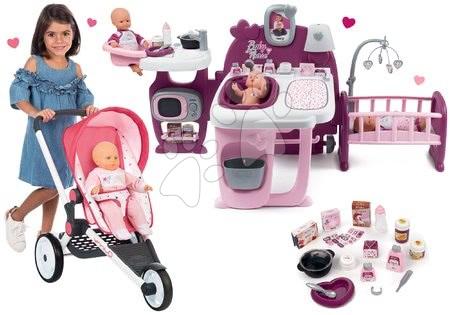Szett sport babakocsi Trio Pastel Maxi Cosi & Quinny Jogger Smoby dönthető napellenzővel és babacenter Violette Baby Nurse Large Doll's Play Center