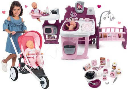 Set cărucior sport Trio Pastel Maxi Cosi & Quinny Jogger Smoby cu parasolar rabatabil și centru de bebe Violette Baby Nurse Large Doll's Play Center
