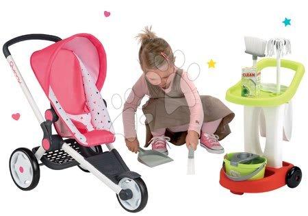 Vozički za punčke in dojenčke - Komplet športni voziček Trio Pastel Maxi Cosi&Quinny Jogger Smoby premičen s strehico in čistilni voziček z vedrom