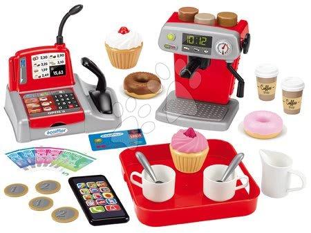 Riadíky a doplnky kuchynky - Kaviareň a čokoládovňa 100% Chef Écoiffier s pokladňou a kávovar s koláčmi s 33 doplnkami od 18 mes