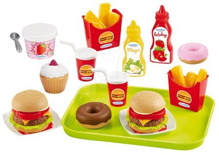 Riadíky a doplnky kuchynky - Hamburger bar 100% Chef Écoiffier s potravinami a 25 doplnkov od 18 mes