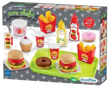 Játékkonyha kiegészítők és edények - Hamburger bár 100% Chef Écoiffier élelmiszerekkel és 25 kiegészítővel 18 hó-tól_1