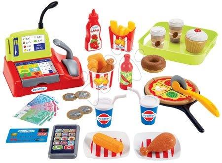 Riadíky a doplnky kuchynky - Potraviny rýchleho občerstvenia Fast Food 100% Chef Écoiffier s pokladňou a 44 doplnkami od 18 mes