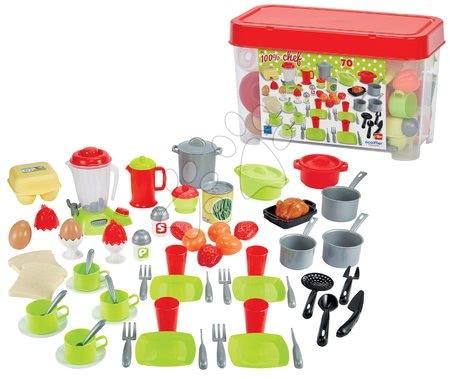 Riadíky a doplnky kuchynky - Riadíky s mixérom v dóze 100% Chef Écoiffier 70 doplnkov s potravinami od 18 mes
