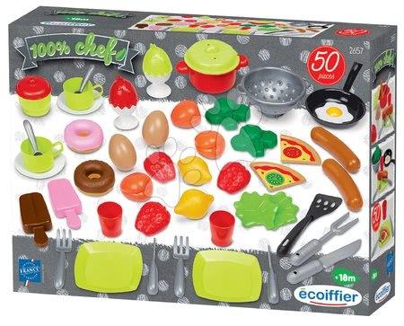 Játékkonyha kiegészítők és edények - Élelmiszerek és edények játékkonyhába 100% Chef Écoiffier 50 darab 18 hó-tól_1