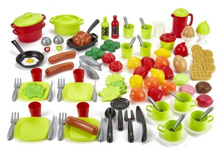 Kiegészítők főzéshez játékkonyhába 100% Chef Écoiffier 100 darabos készlet gyümölcsök, zöldségek és élelmiszerekek edényekkel 18 hó-tól