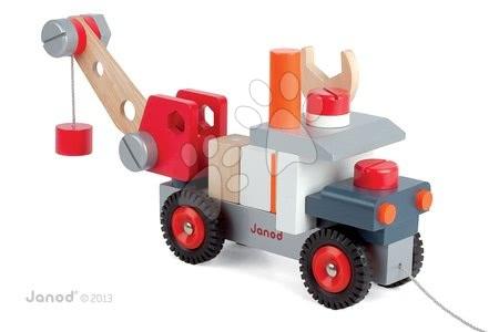 Drevená magnetická stavebnica auto Redmaster Bricolo Janod so žeriavom od 2 rokov 25 dielov