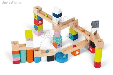 Janod - Dřevěné kostky Marble Run Kubix - 50 Blocks Janod stavebnice 50 ks