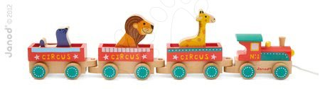 Ťahacie hračky - Drevený vláčik Cirkus Story Set Janod s 3 zvieratkami od 18 mes