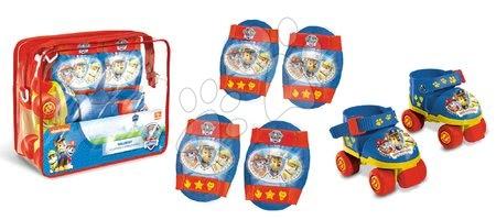 Dětské kolečkové brusle - Brusle 4kolečkové Paw Patrol Mondo s chrániči na kolena a lokty velikost 22–29