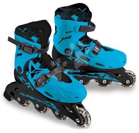 Dětské kolečkové brusle - Brusle in-line Boy Mondo modré 4kolečkové PVC kolečka 64*24mm velikosl 33–36 od 5 let