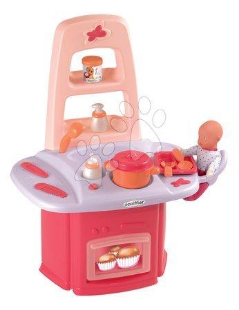 Domčeky pre bábiky - Prebaľovací stolík Nursery Écoiffier pre bábiku s kuchynkou so 14 doplnkami od 18 mes