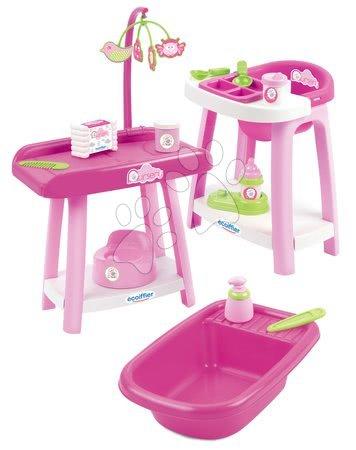 Domčeky pre bábiky - Prebaľovací pult so stoličkou a vaničkou Nursery 3v1 Écoiffier 15 doplnkov ružový od 12 mes_1