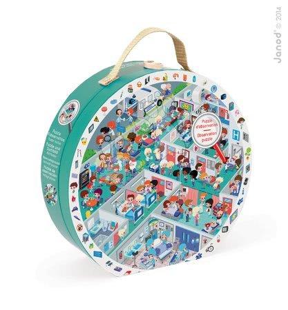 Okrúhle puzzle Pohotovosť Janod v okrúhlom kufríku 208 dielov od 6 - 9 rokov