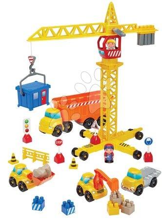 Stavebnice a kocky - Stavebnica Stavbári so žeriavom Publics Works Crane Abrick Écoiffier s 5 autami a 2 figúrkami