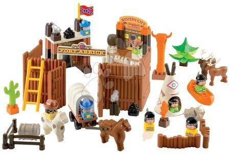 Építőjátékok - Építőjáték Abrick – western városka Écoiffier indiánokkal és cowboy-okkal 110 darabos 18 hó-tól