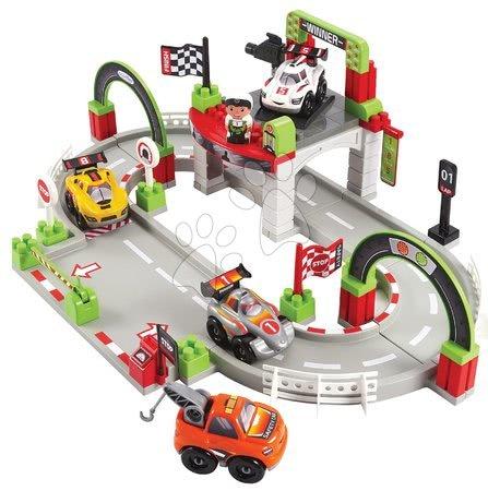 Stavebnice a kocky - Stavebnica pretekárska dráha s víťazom Abrick Écoiffier so 4 autíčkami a postavičkou od 18 mes