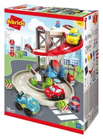 Stavebnice a kocky - Stavebnica poschodová garáž servis s 3 autíčkami Abrick Écoiffier s benzínovou pumpou a postavičkou od 18 mes_1