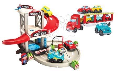 Stavebnice a kocky - Stavebnica poschodová garáž s kamiónom Abrick Écoiffier so skladateľnými 9 autíčkami a postavičkou od 18 mes