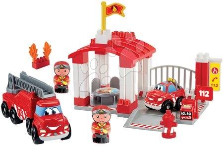 Építőjátékok - Építőjáték tűzoltóállomás Abrick Écoiffier tűzoltókocsival és sürgősségi járművel és 2 tűzoltóval 18 hó-tól