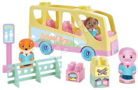 Építőjátékok - Építőjáték Iskolabusz Twee Pop Abrick Écoiffier 3 állatkás figurával 18 hó-tól